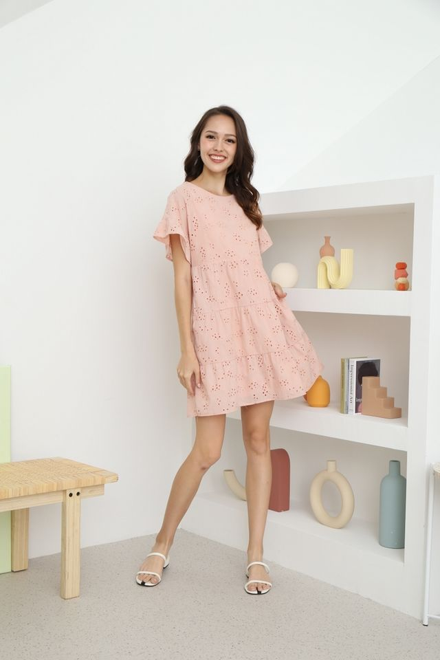 Kate Flutter Sleeves Babydoll Dress in Apricot