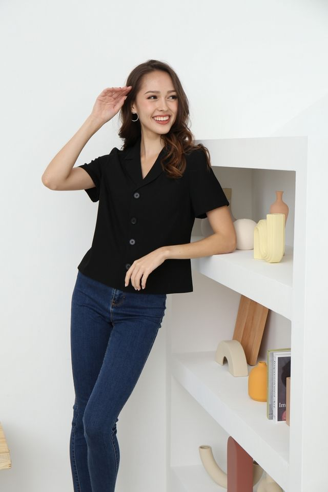 Ava Collared Button Top in Black