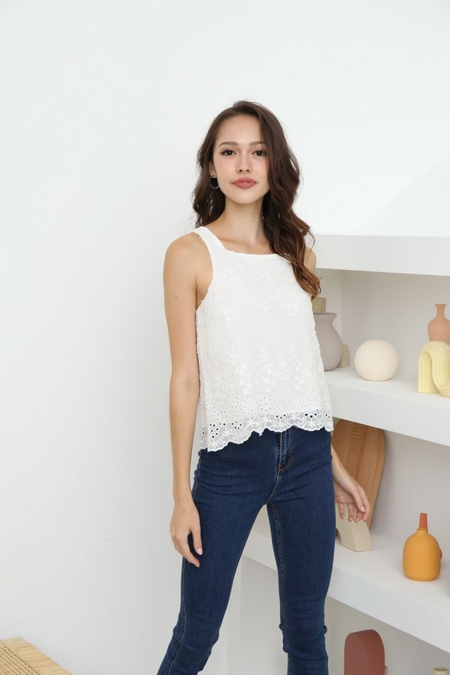 Keily Floral Swiss Dot Top in White
