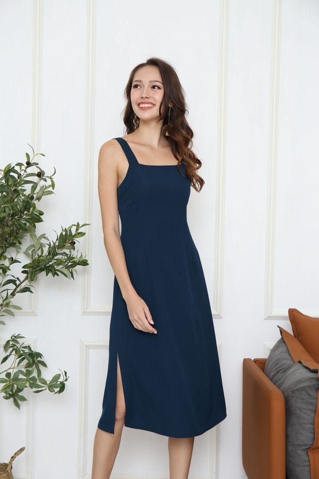 Ladonna Square Neck Midi Dress in Teal