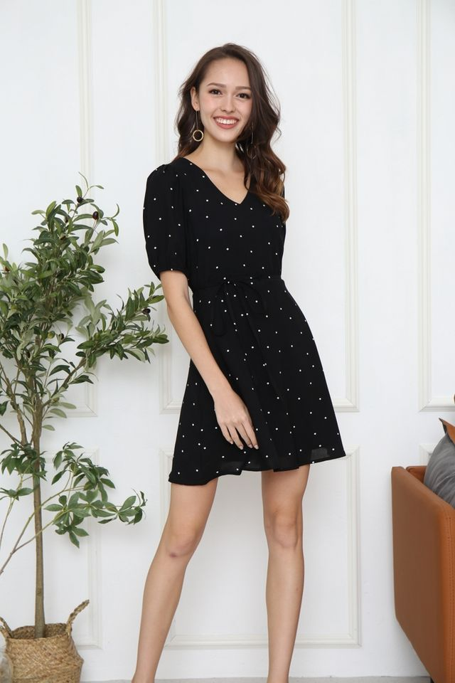 Edrea Polka Dot Puff Sleeve Dress in Black