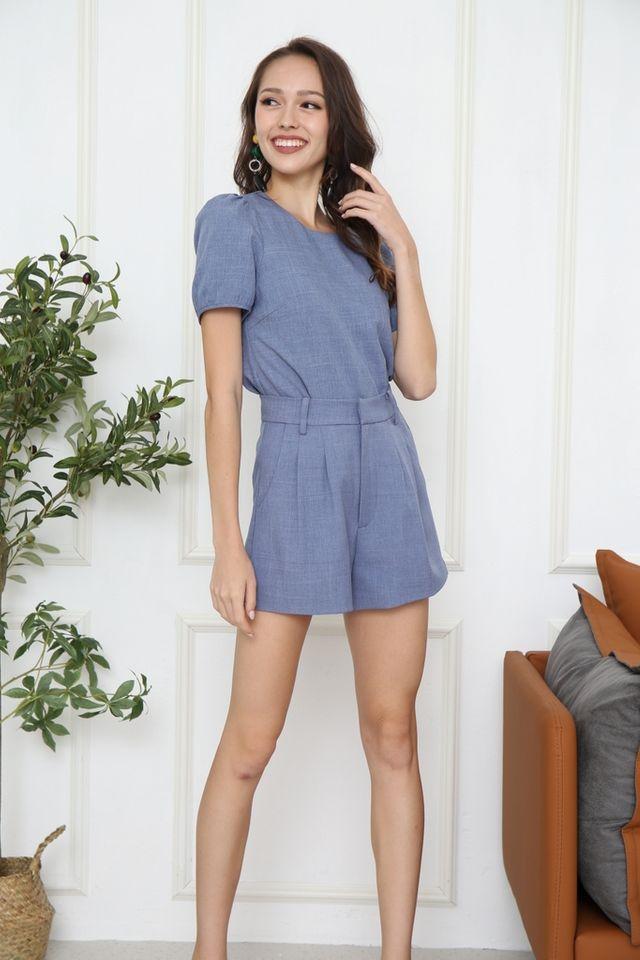 Violeta Puff Sleeved Top in Denim Blue