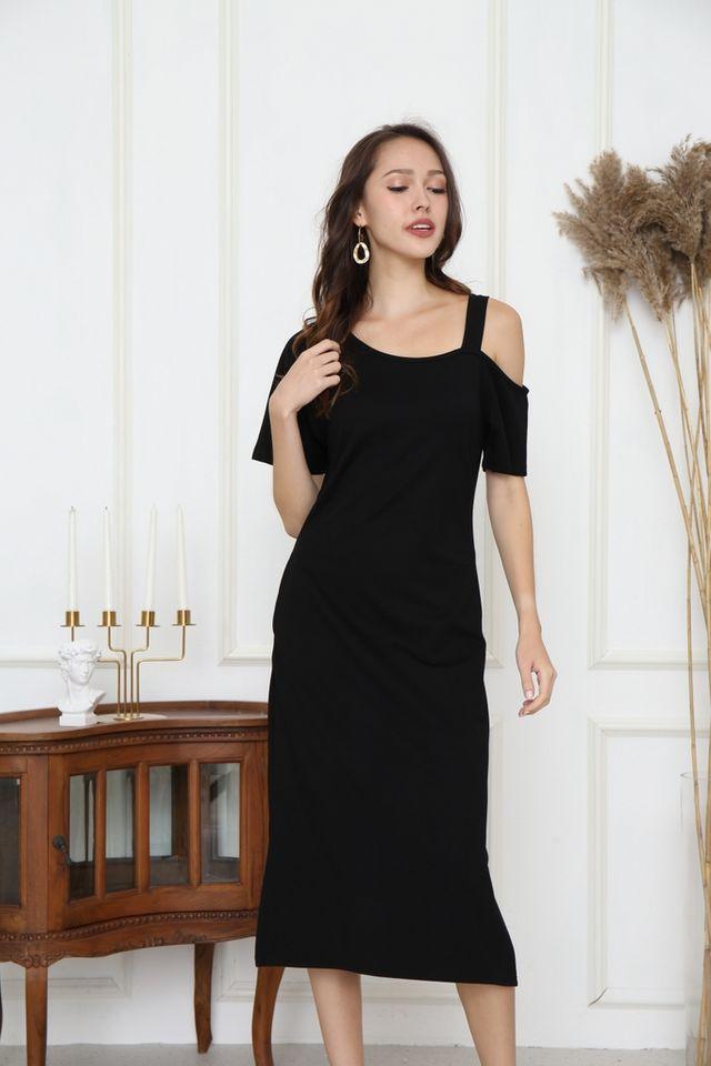 Aliza One-Shoulder Midi Dress in Black