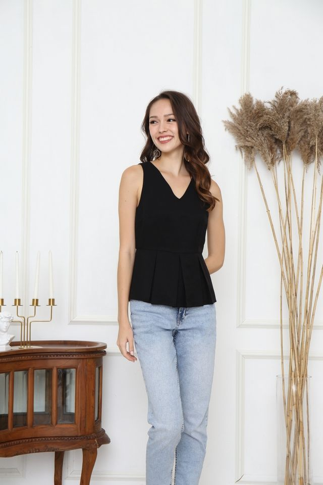 Catalina Pleats Peplum Top in Black