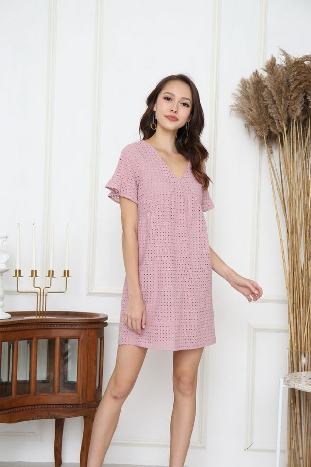 Aerin Babydoll Eyelet Dress in Pink