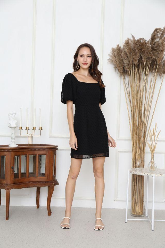 Tasha Swiss Dots Puff Sleeve Dress in Black