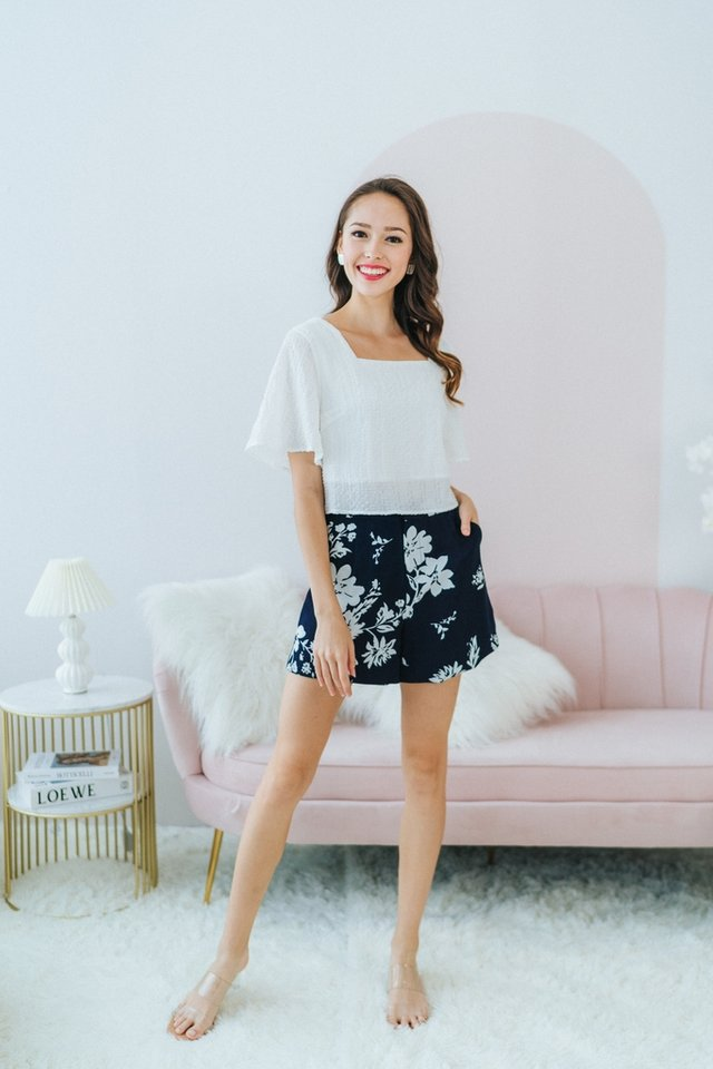 Charmine Abstract Floral Shorts in Navy