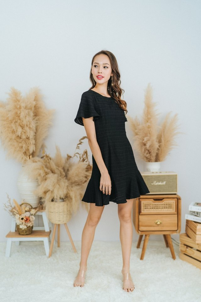 Ema Textured Dropwaist Ruffles Dress in Black
