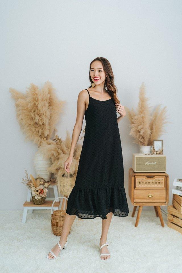 Vada Textured Swiss Dot Midi Dress in Black