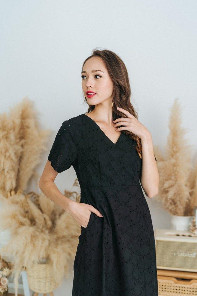 Ella Eyelet Dropwaist Midi Dress in Black