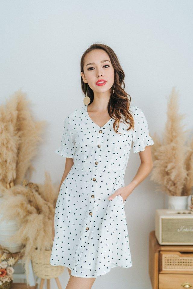 Allana Heartshaped Button Dress in White