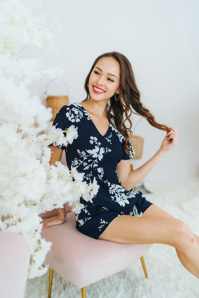 Lauren Floral Eyelet Trim Romper in Navy