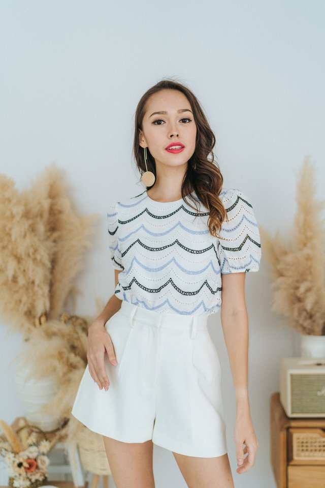 Leia Eyelet Scallop Puffed Sleeves Top in White