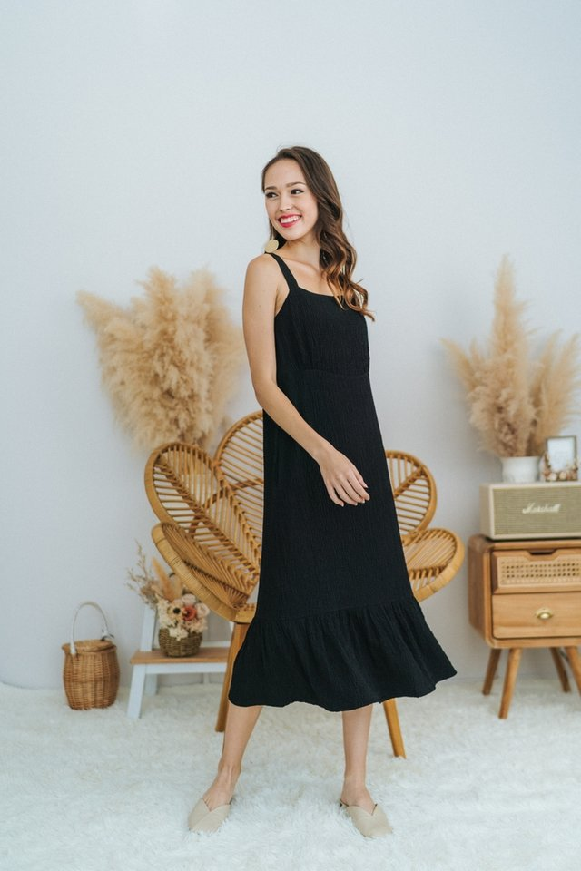 Jael Textured Dropwaist Midi Dress in Black