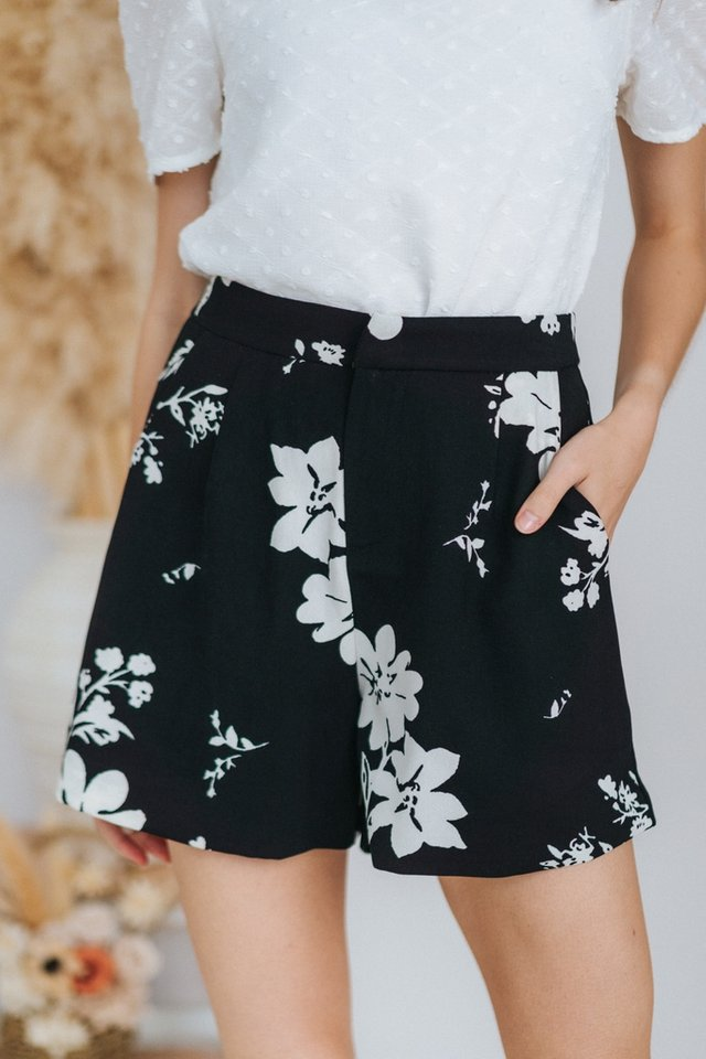 Charmine Abstract Floral Shorts in Black