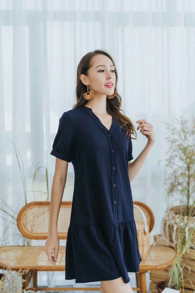 *BACKORDER* Nayla Mandarin Collar Button Dress in Navy