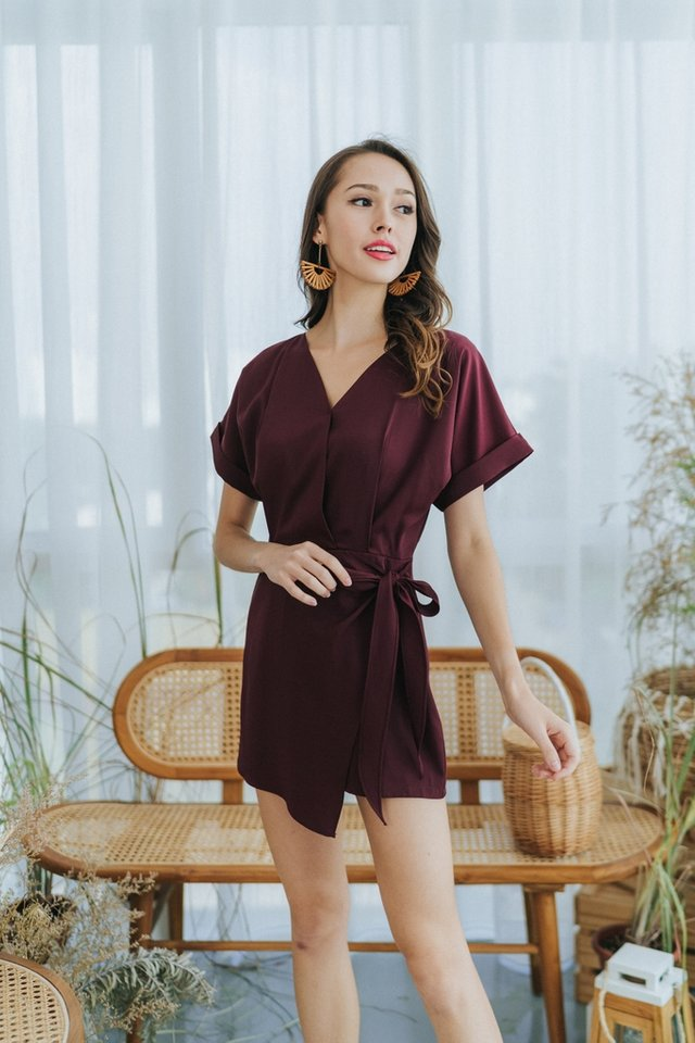 Sheila Faux Wrap Romper in Wine