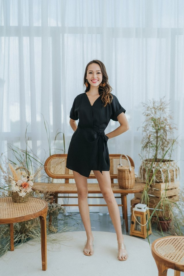 Sheila Faux Wrap Romper in Black