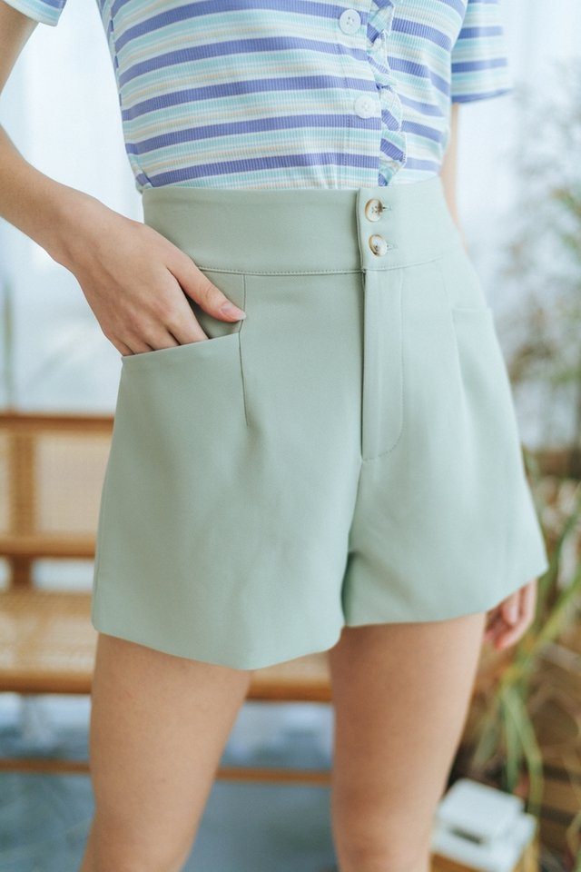 *BACKORDER* Harlow Button Pocket Shorts in Sage