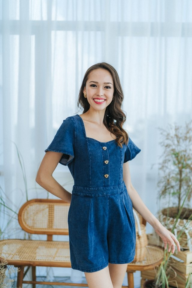 *BACKORDER* Coco Denim Button Romper in Mid Wash