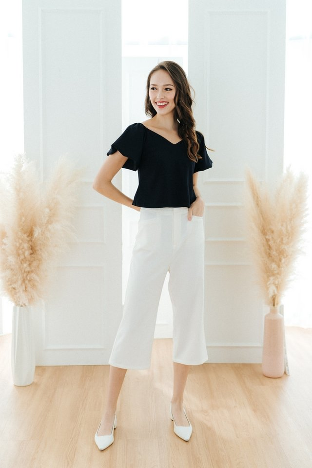 Cindie Panel Waist Culottes in White