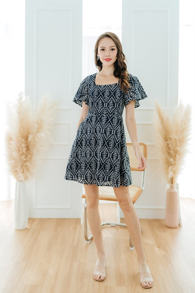 Grecia Eyelet Square Neck Dress in Navy