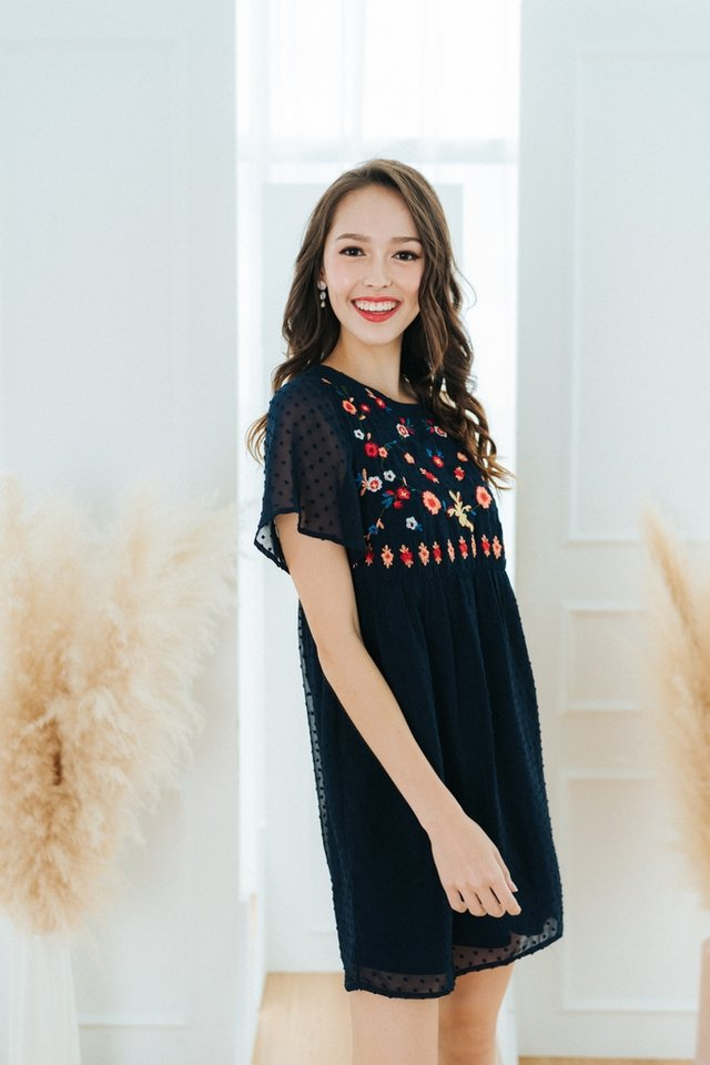 Shay Swiss Dot Floral Embroidery Dress in Navy