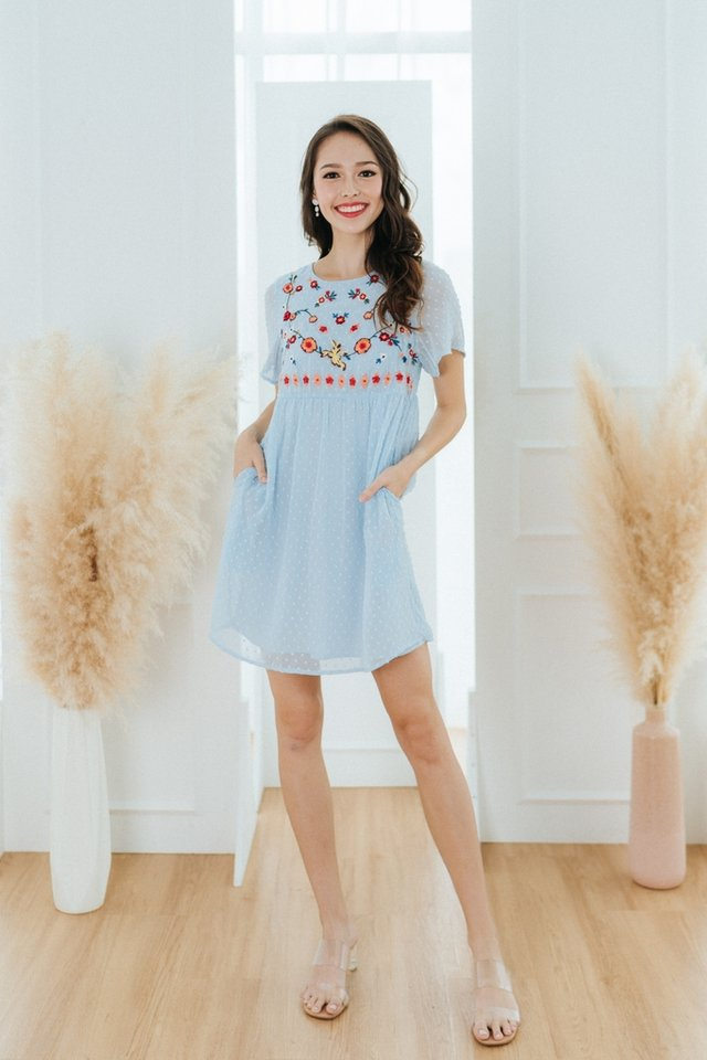 Shay Swiss Dot Floral Embroidery Dress in Baby Blue
