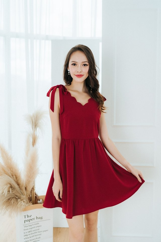 Aria Scallop Ribbon Dress in Red