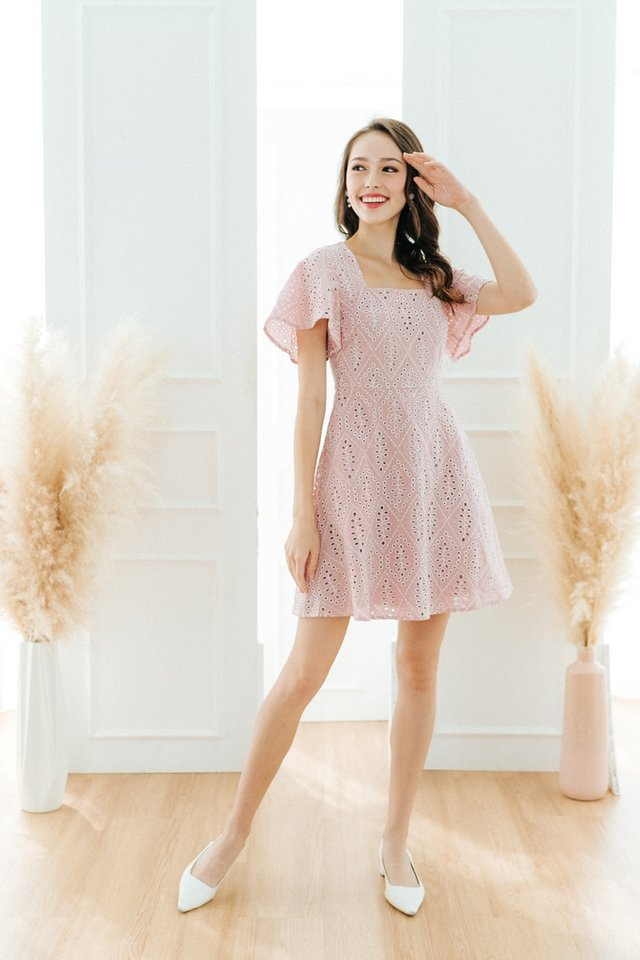 Grecia Eyelet Square Neck Dress in Blush Pink