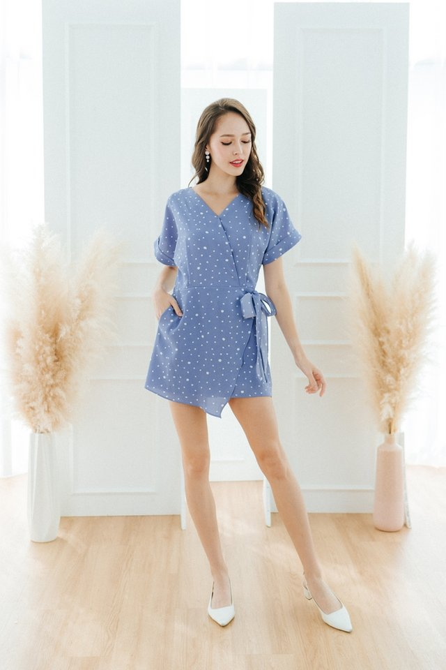 Joana Printed Faux Wrap Romper in Cornflower Blue