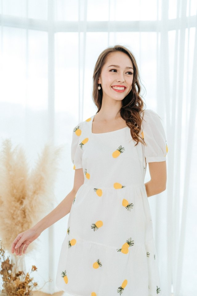 Ong Lai Embroidery Square Neck Dress in White