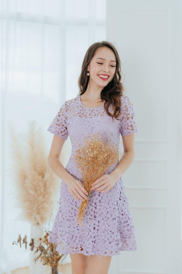 Nyomi Crochet Dropwaist Dress in Lilac