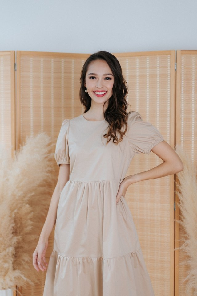 Vita Babydoll Midi Dress in Cream