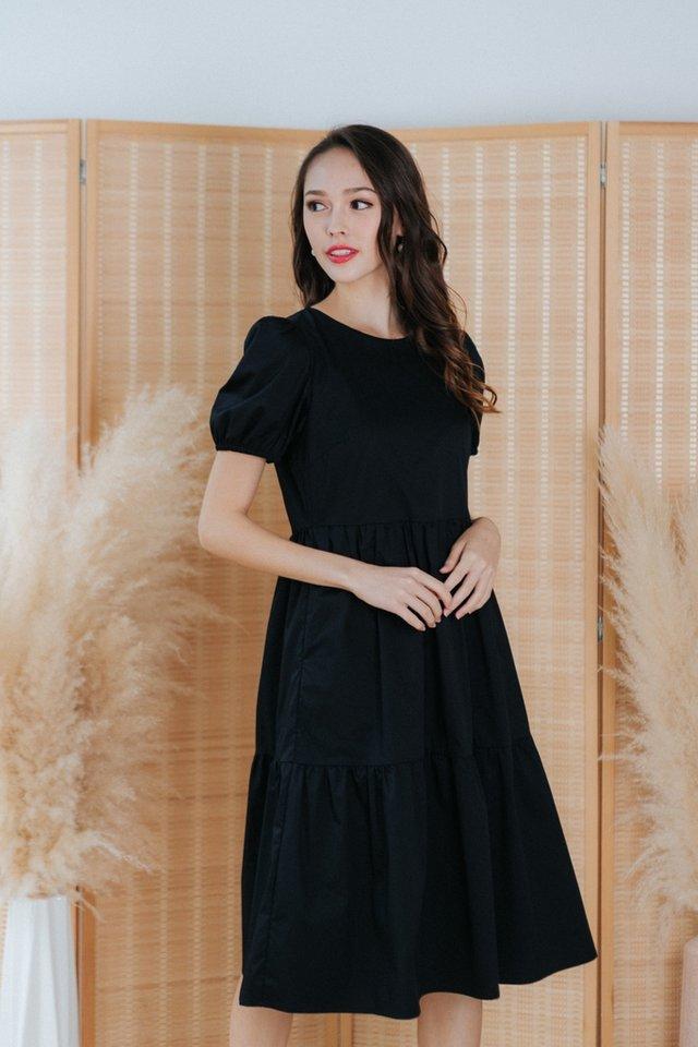 Vita Babydoll Midi Dress in Black