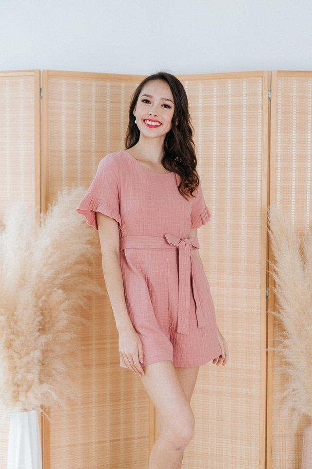 Madelia Textured Flutter Sleeves Romper in Pink
