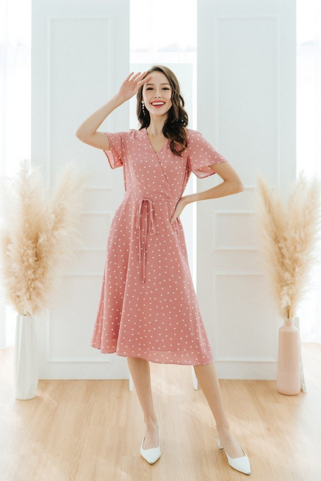 Jayne Heart-Shaped Faux Wrap Midi Dress in Pink