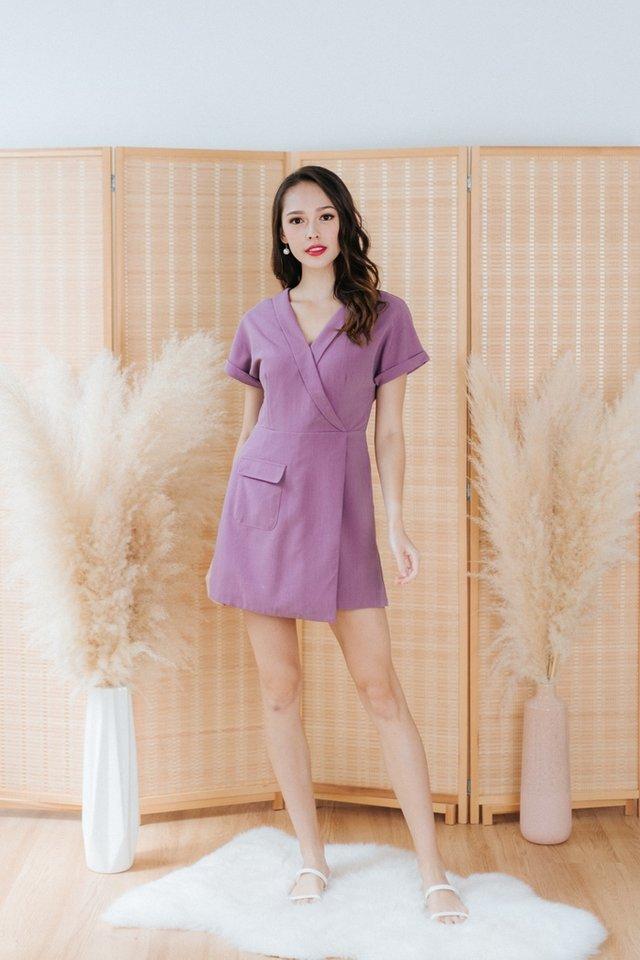 Adeline Faux Wrap Romper in Purple (XS)