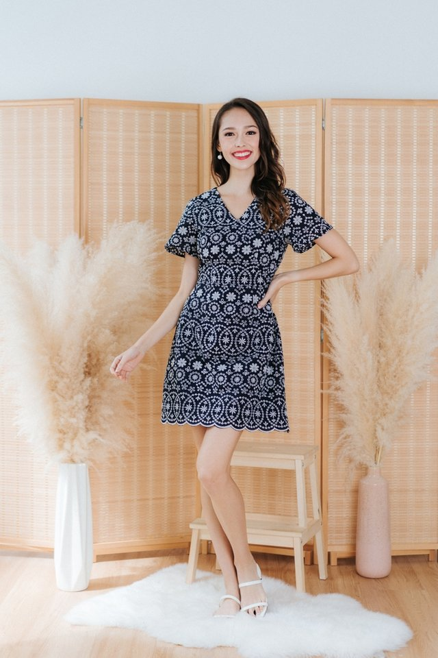 Sabina Eyelet Faux Wrap Dress in Navy
