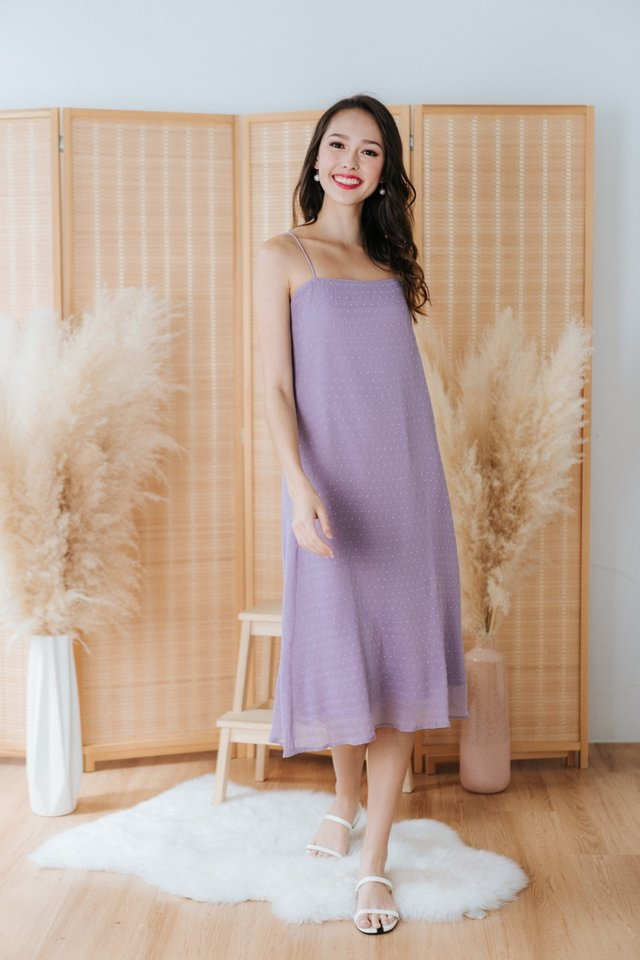 Laleh Swiss Dot Camisole Midi Dress in Lilac