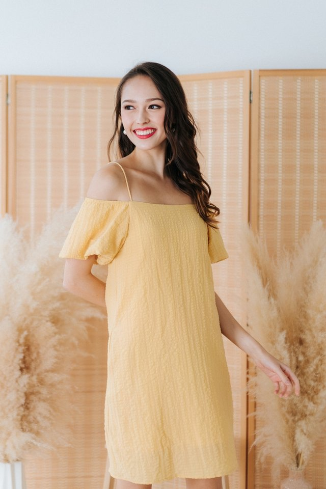 Claire Textured Cold-Shoulder Dress in Sunshine