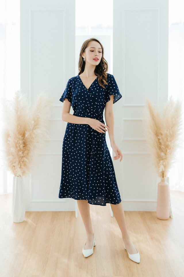 Jayne Heart-Shaped Faux Wrap Midi Dress in Navy