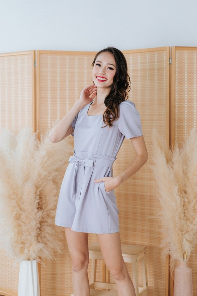 Pamela Square Neck Paper Bag Romper in Grey