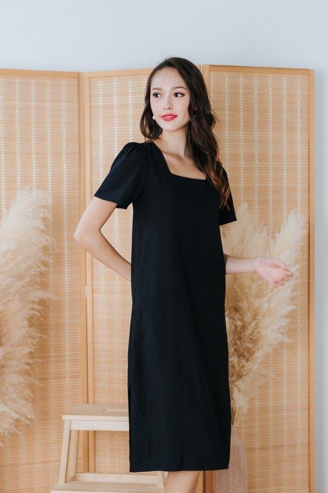 Tanzanna Square Neck Midi Dress in Black