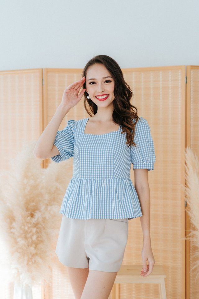 Calynn Checkered Babydoll Top in Blue