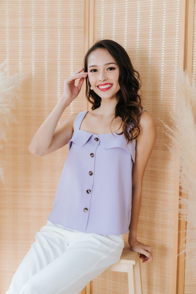 Aurelia 2 Way Button Top in Lilac