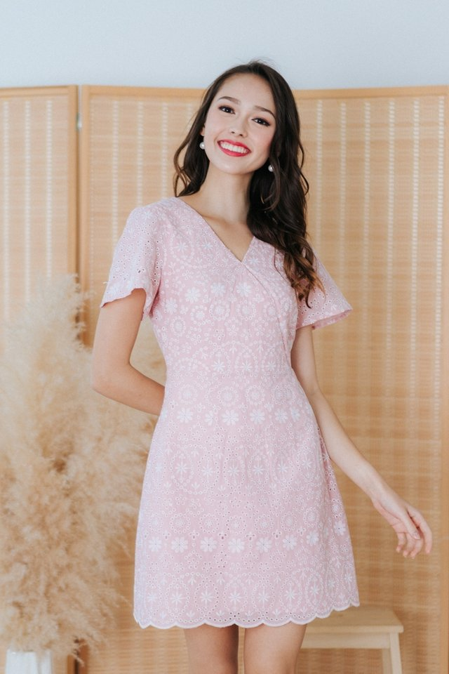 Sabina Eyelet Faux Wrap Dress in Pink