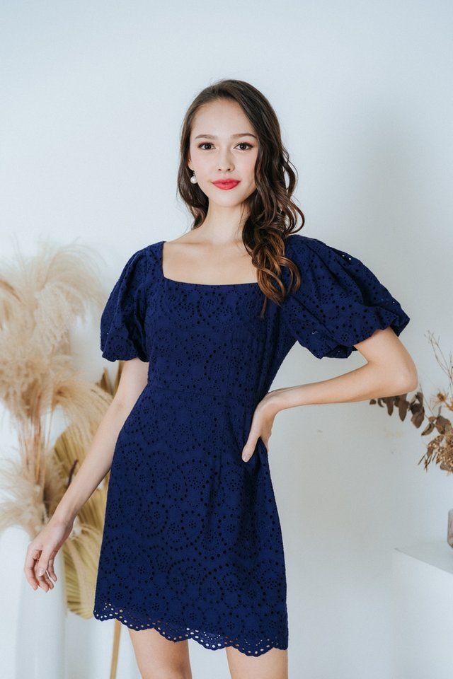 Racquel Eyelet Puffed Sleeves Dress in Navy