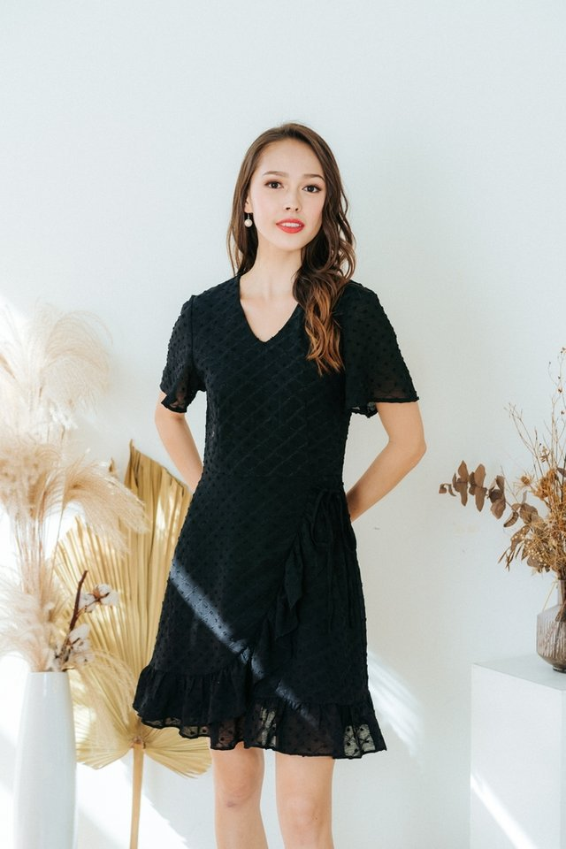 Cora Swiss Dot Signature Ruffles Dress in Black (XS)