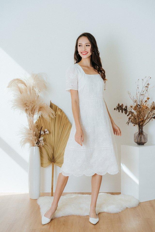 Ellie Square Neck Eyelet Midi Dress in White